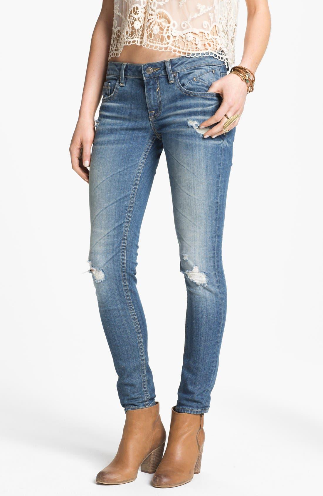 Alternate Image 1 Selected - Vigoss Destroyed Skinny Jeans (Juniors)