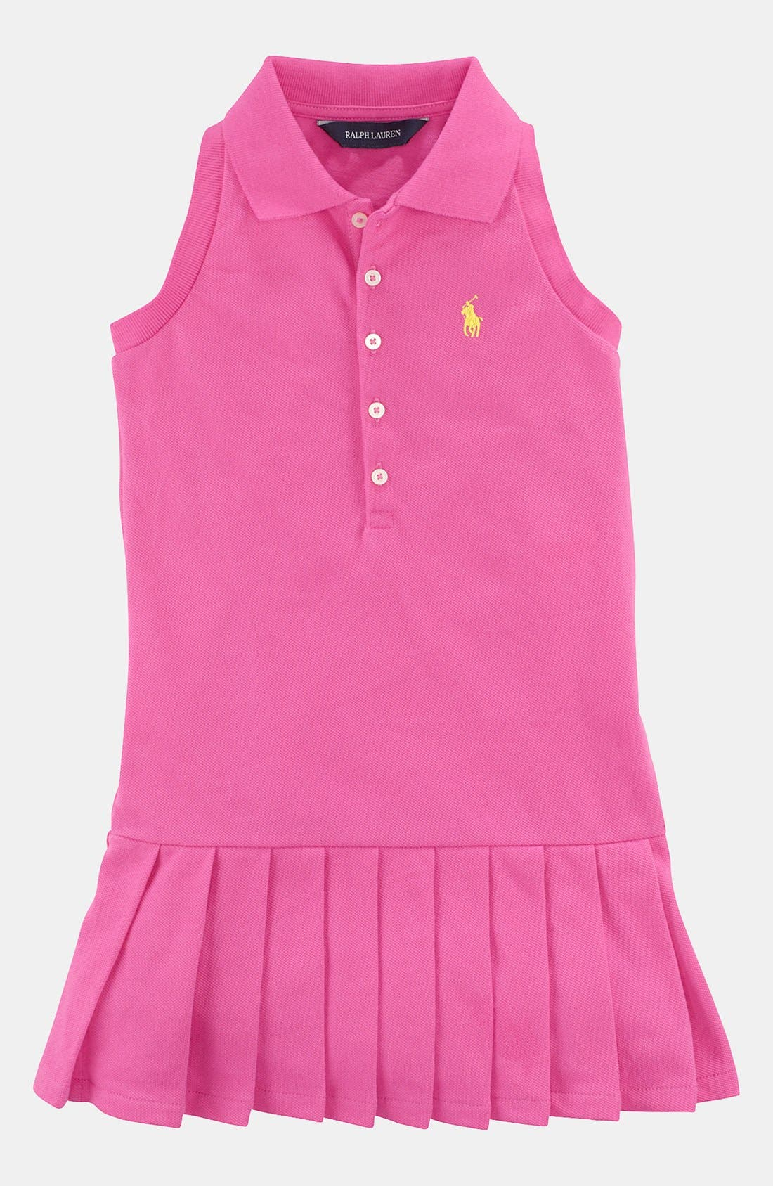 Alternate Image 1 Selected - Ralph Lauren Pleated Polo Dress (Toddler)