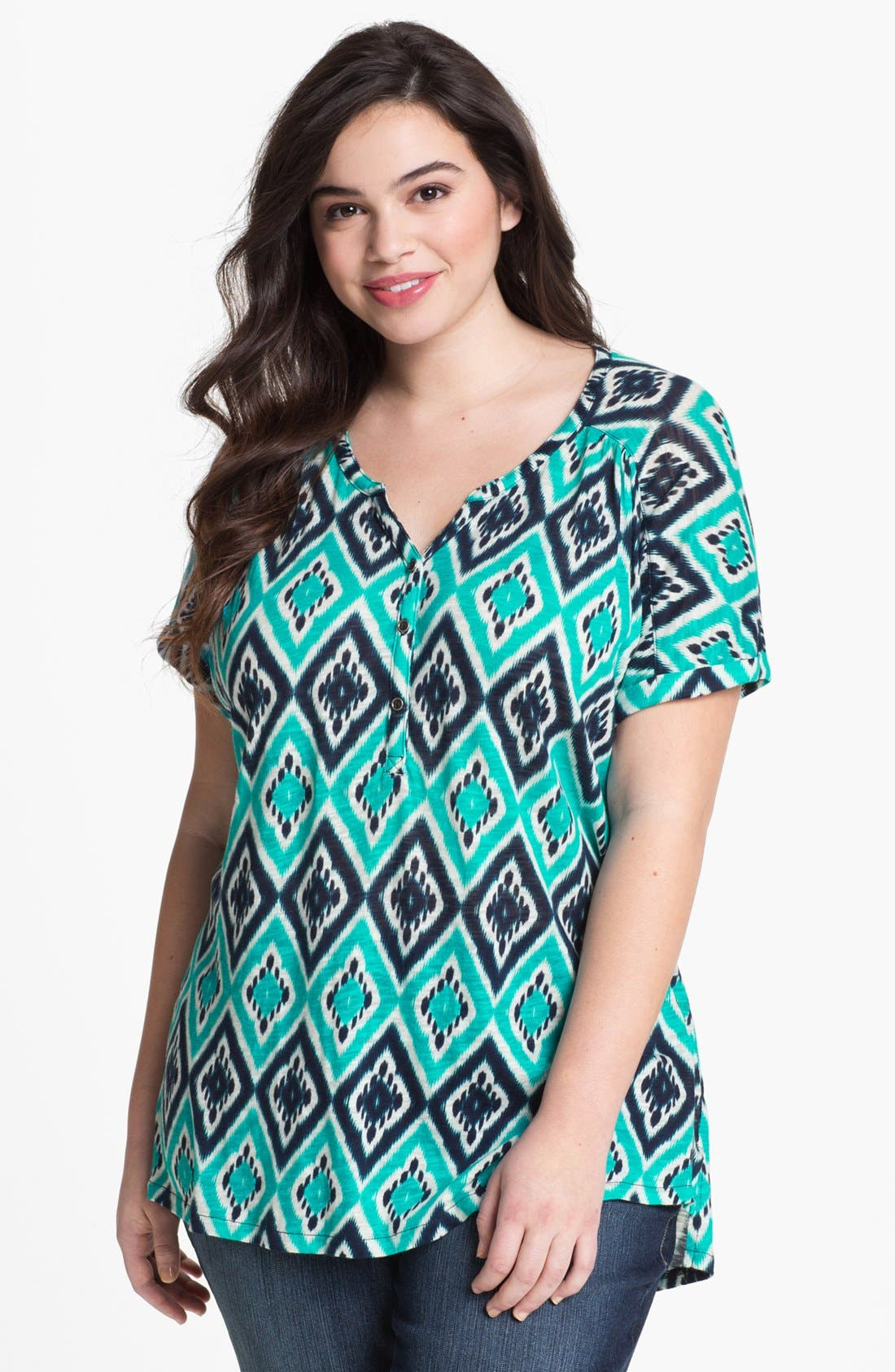Alternate Image 1 Selected - Lucky Brand Ikat Print Top (Plus Size)