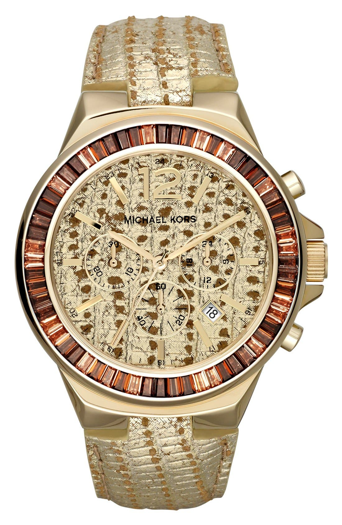 Main Image - Michael Kors 'Gramercy' Embossed Leather Strap Watch, 45mm