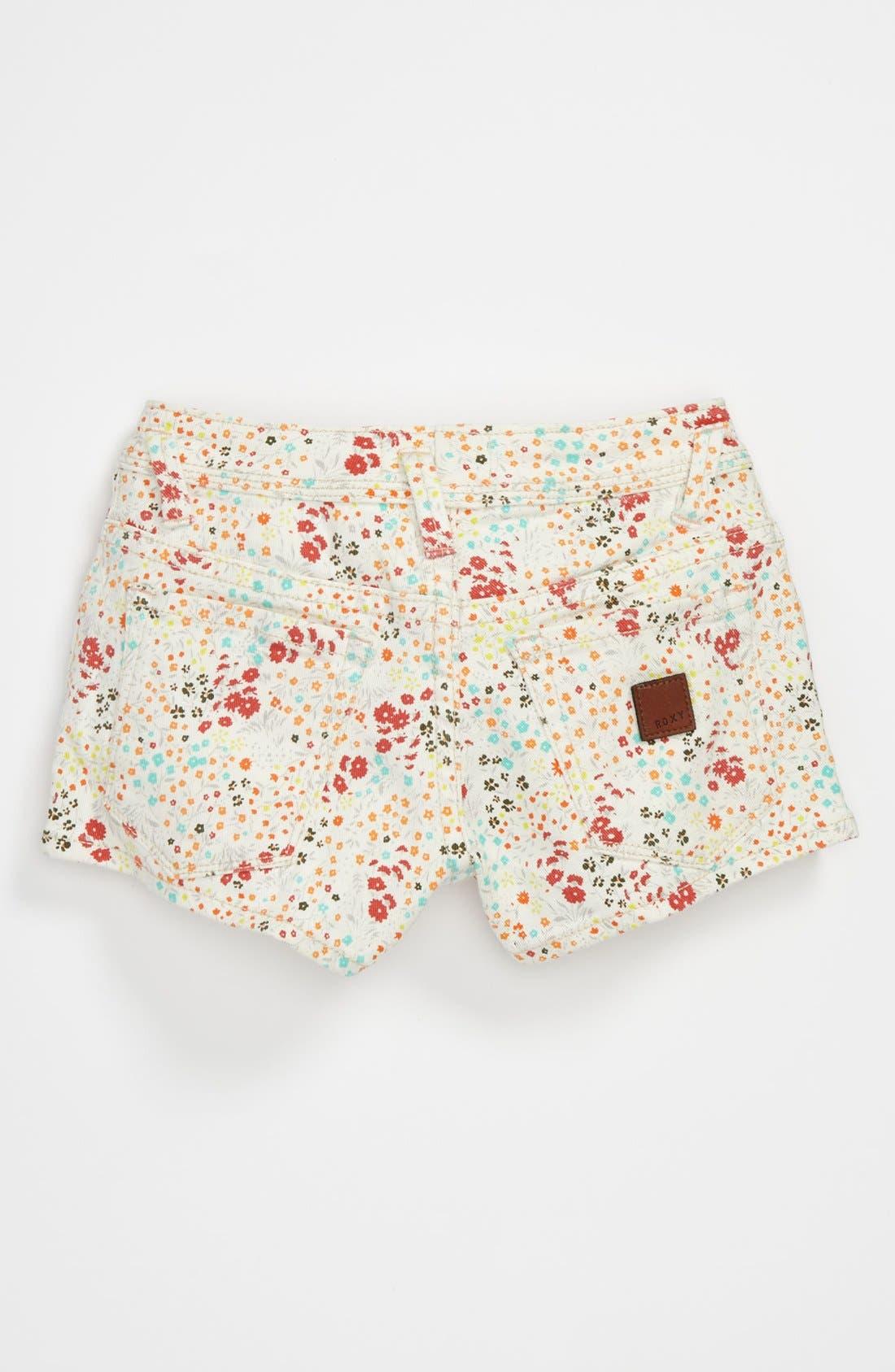 Main Image - 'Festival' Print Denim Shorts (Big Girls)