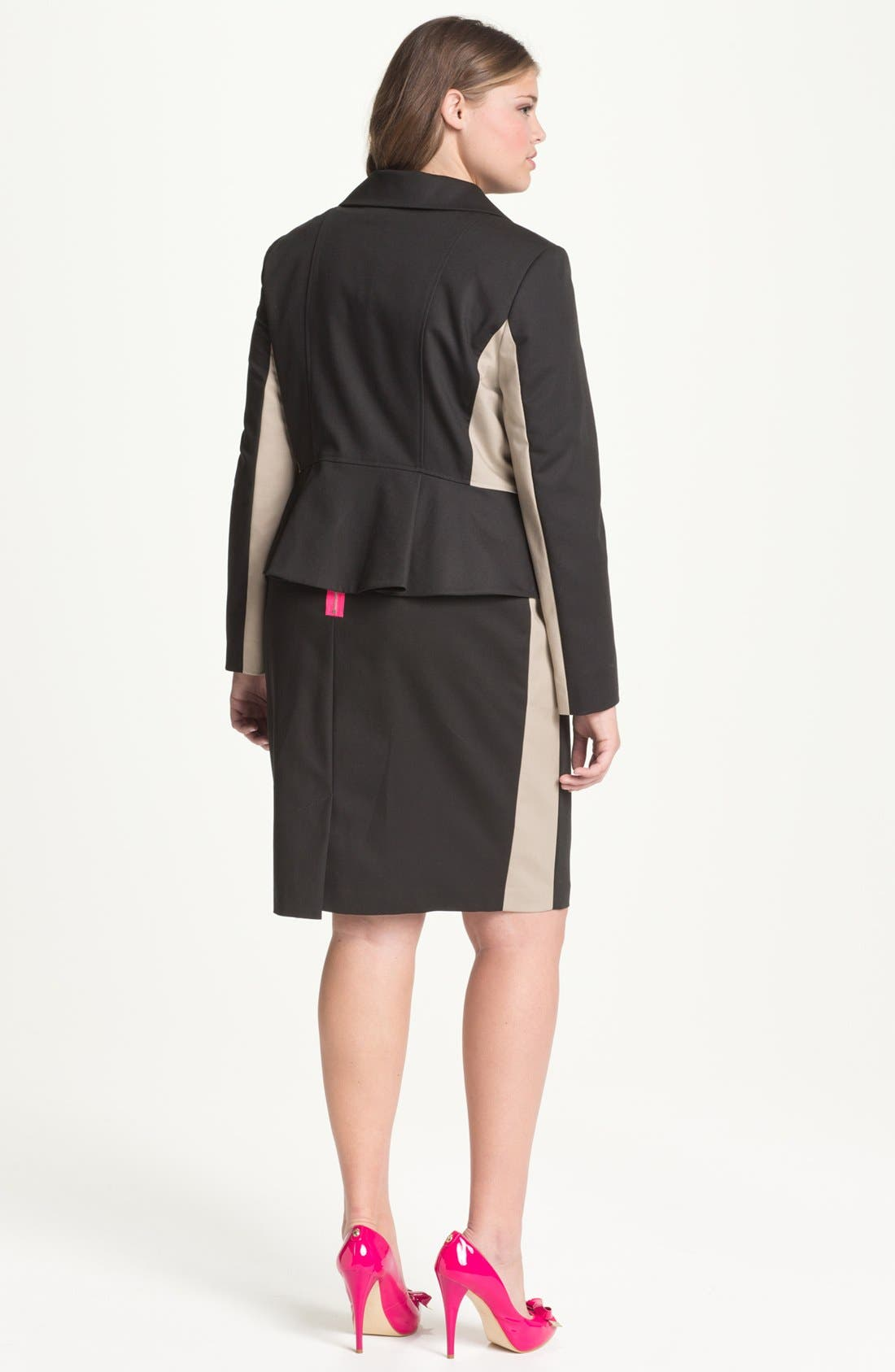 Alternate Image 2  - Tahari Woman 'Althea' Colorblock Peplum Jacket (Plus)