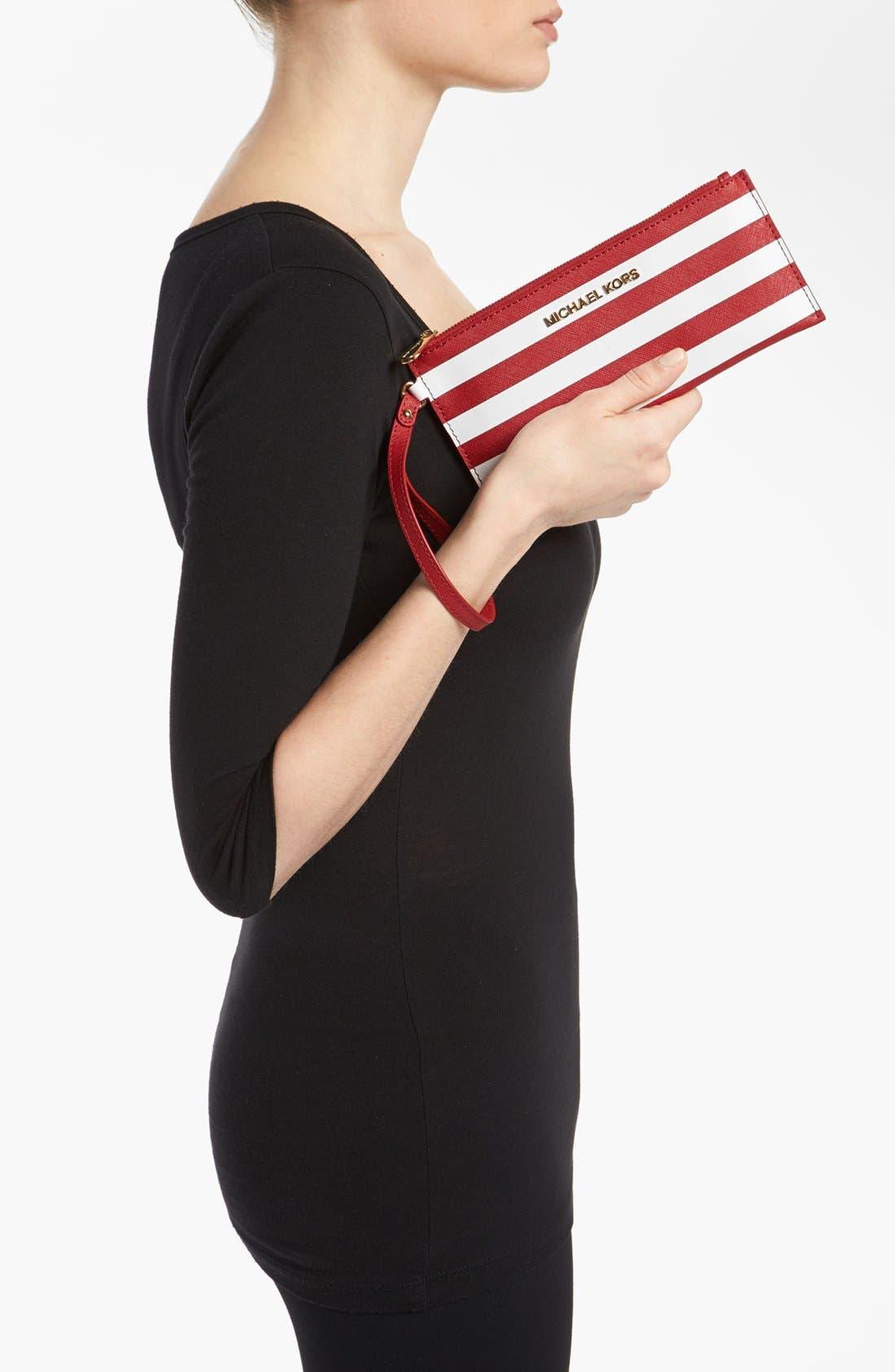 Alternate Image 2  - MICHAEL Michael Kors 'Small' Stripe Zip Clutch