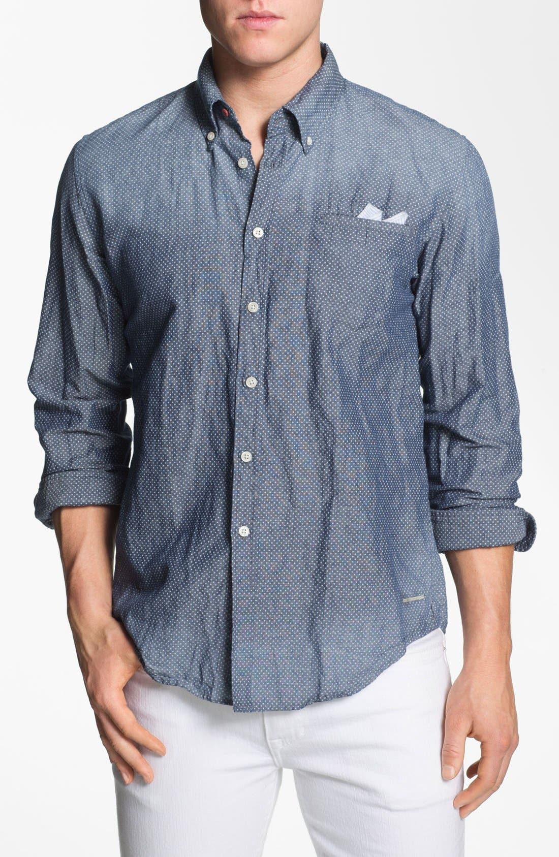 Alternate Image 1 Selected - Scotch & Soda Trim Fit Chambray Shirt