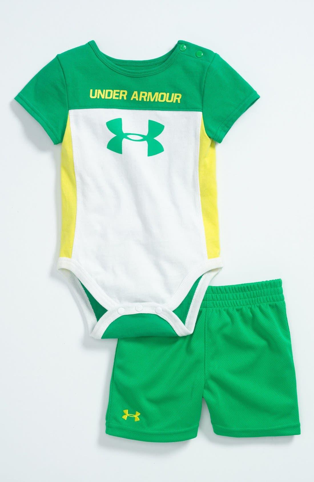 Main Image - Under Armour 'Mixed Media' Bodysuit & Shorts (Baby)