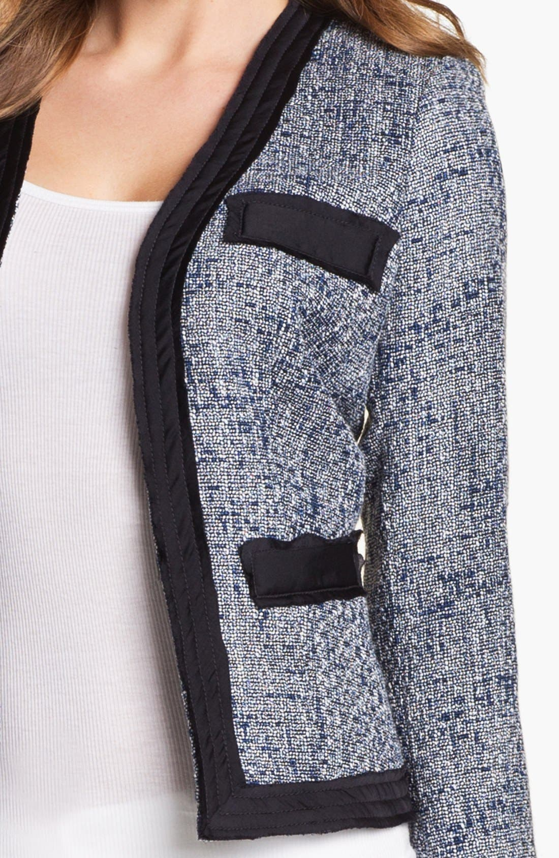 Alternate Image 3  - MICHAEL Michael Kors Woven Trim Tweed Jacket