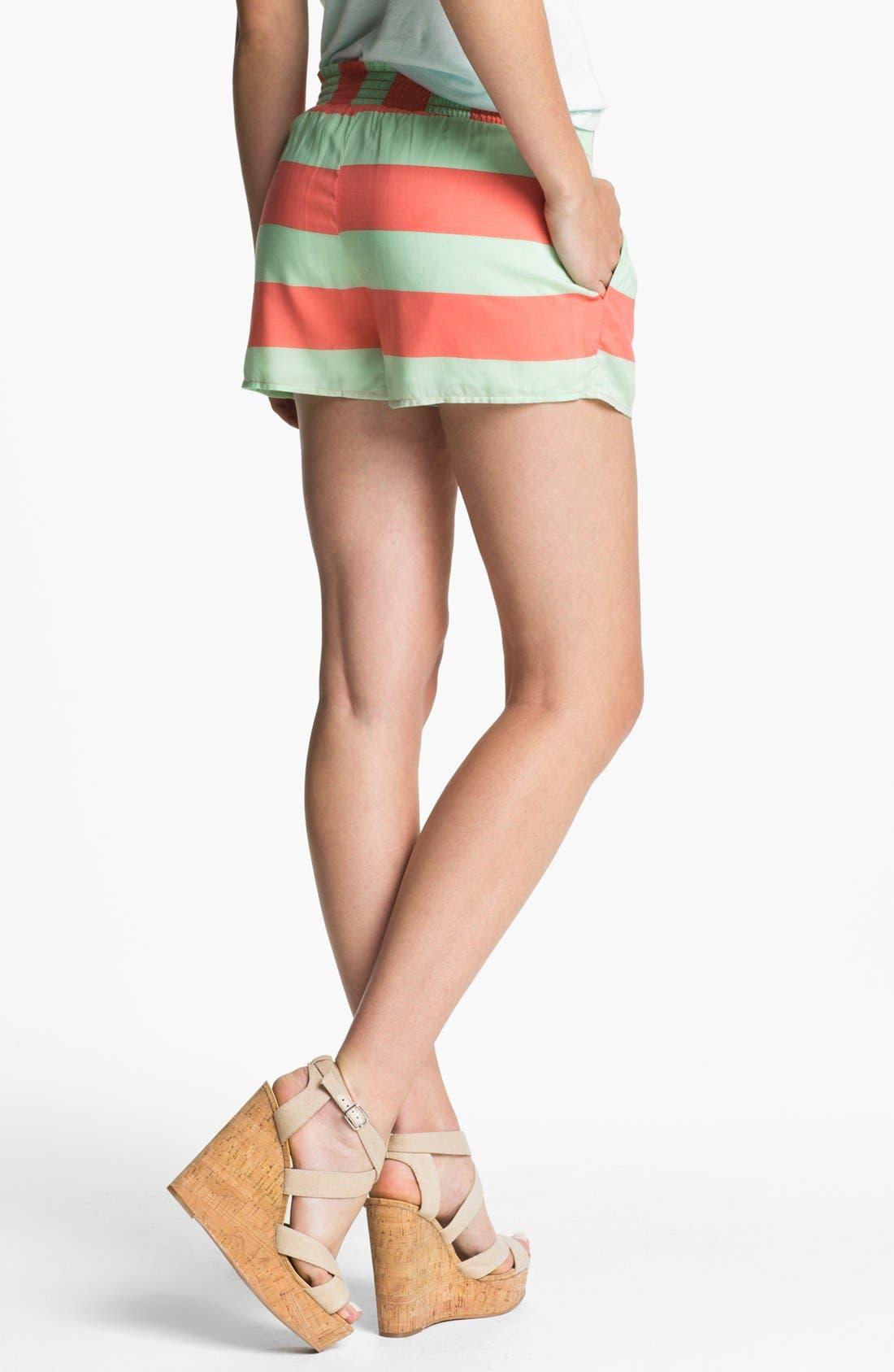Alternate Image 2  - Splendid Neon Stripe Smock Waist Shorts