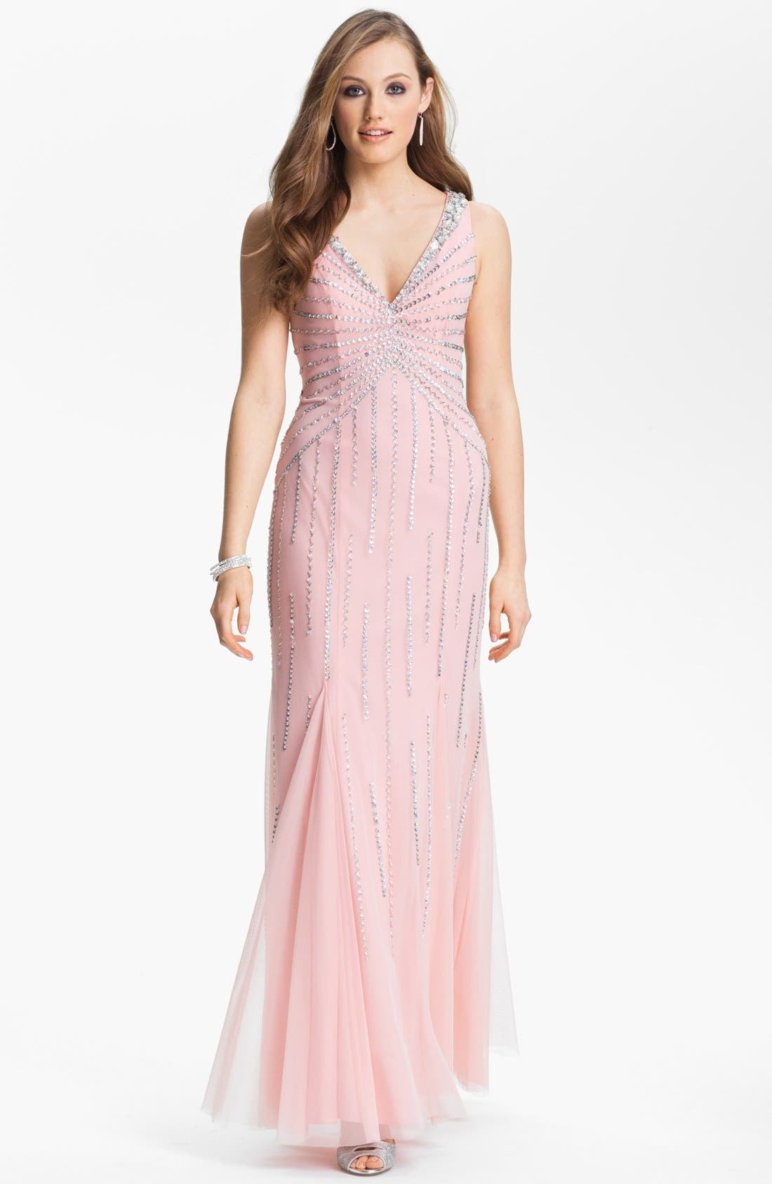 Main Image - Sean Collection Embellished Mesh Trumpet Gown (Online Only)