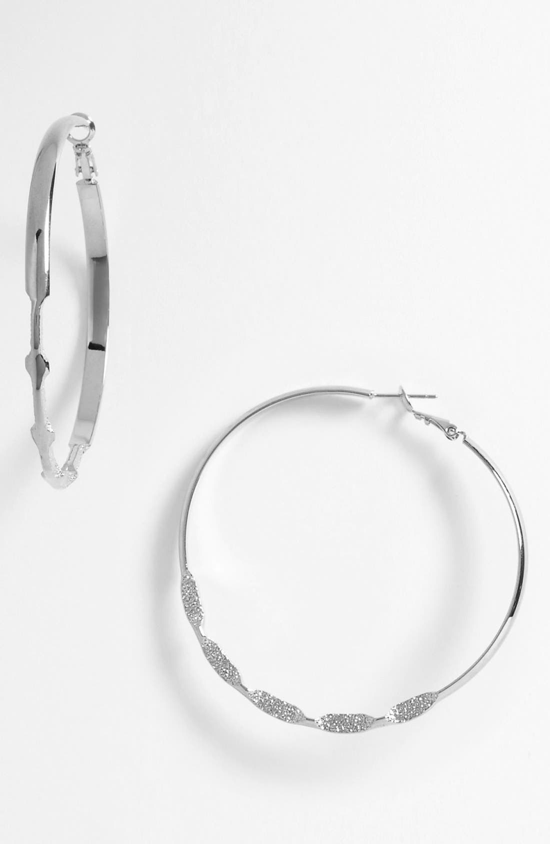 Alternate Image 1 Selected - Natasha Couture Etched Hoop Earrings