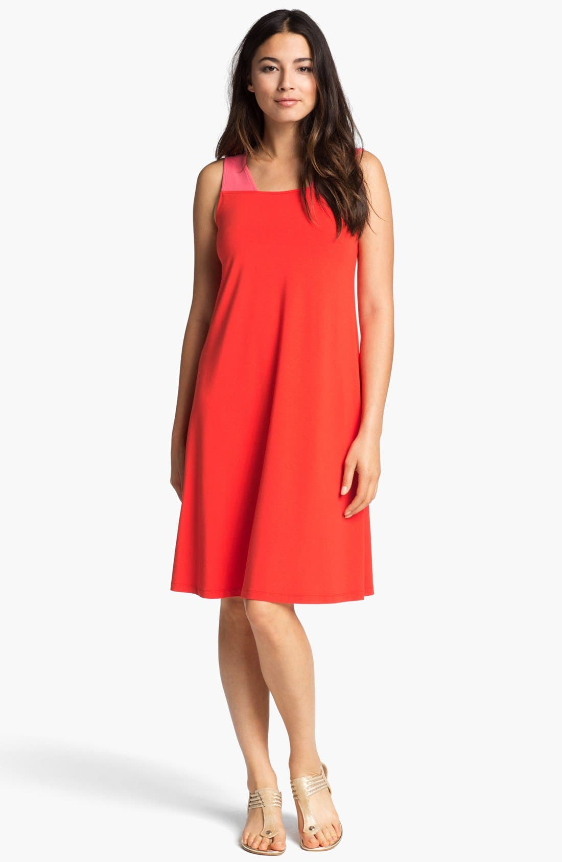 Alternate Image 1 Selected - Eileen Fisher Cutout Two Tone Dress (Online Only)