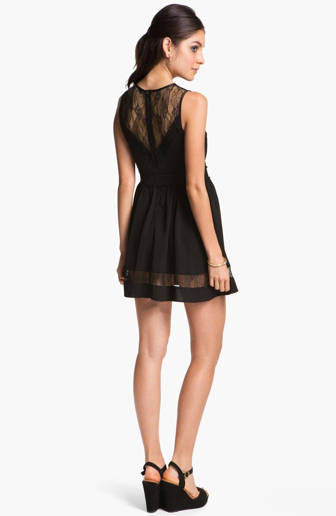 Alternate Image 2  - En Crème Lace Illusion Skater Dress (Juniors)