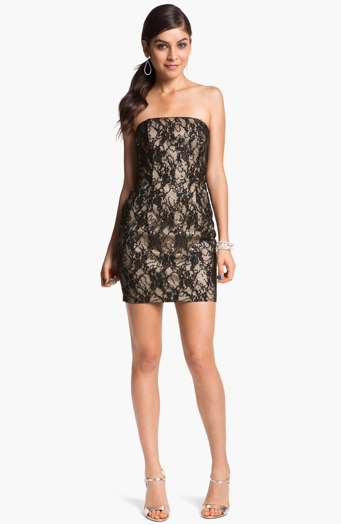 Alternate Image 1 Selected - Jessica McClintock Strapless Lace Minidress