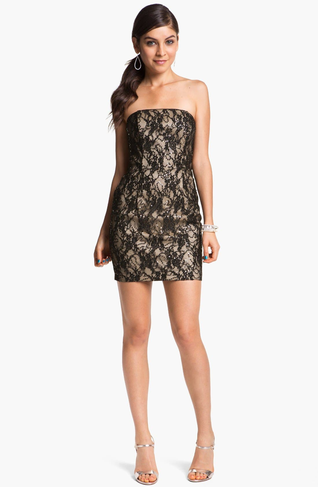 Main Image - Jessica McClintock Strapless Lace Minidress
