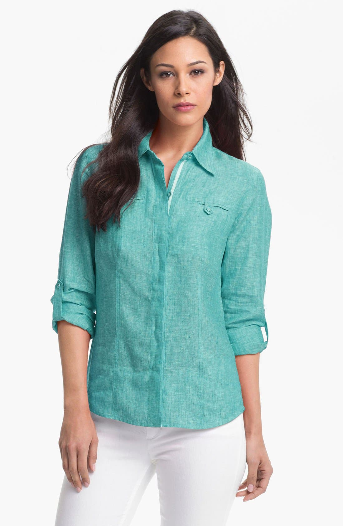 Main Image - Foxcroft Roll Sleeve Linen Shirt (Petite)