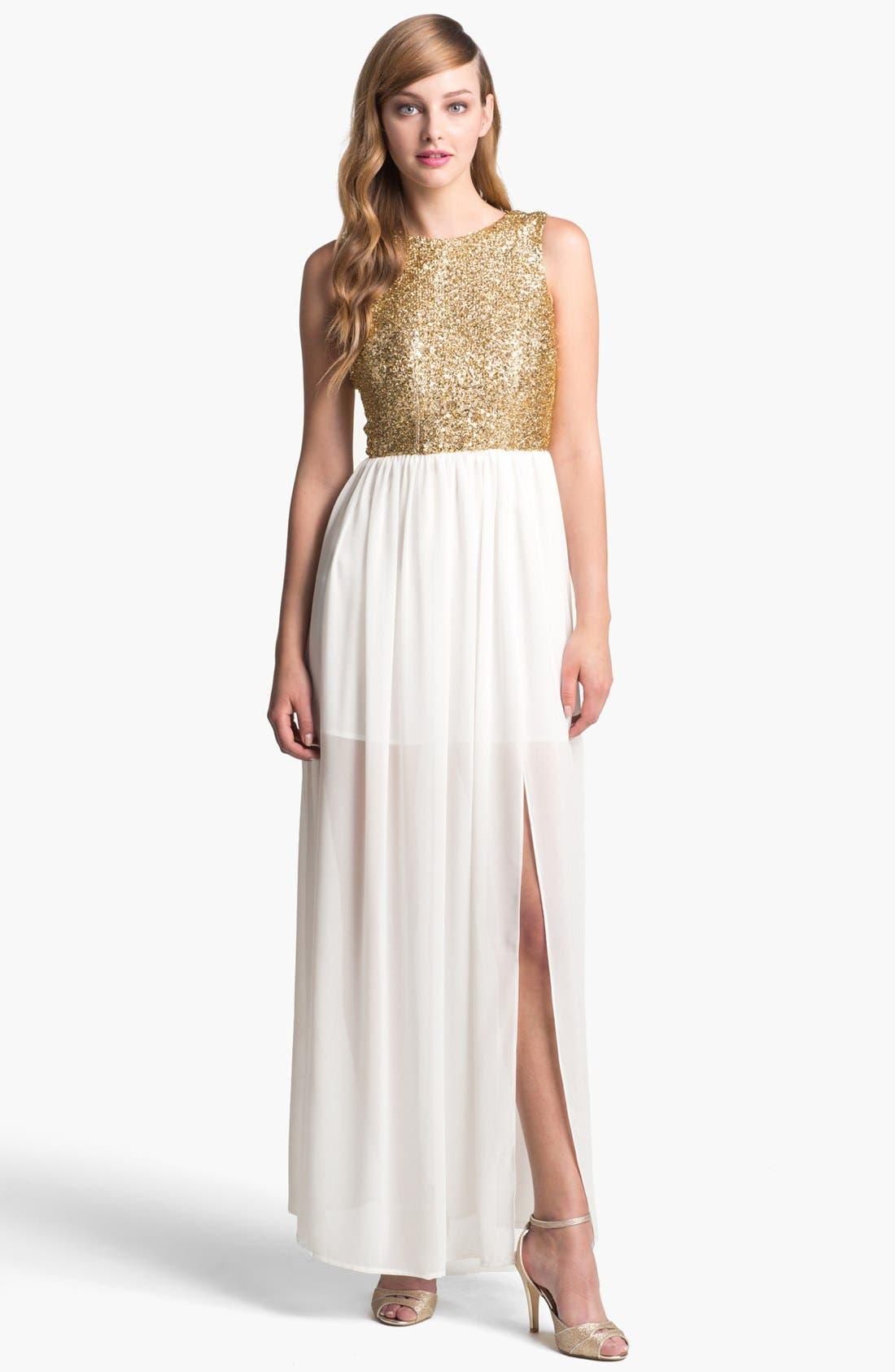 Main Image - Keepsake the Label 'Love Run By' Embellished Chiffon Maxi Dress