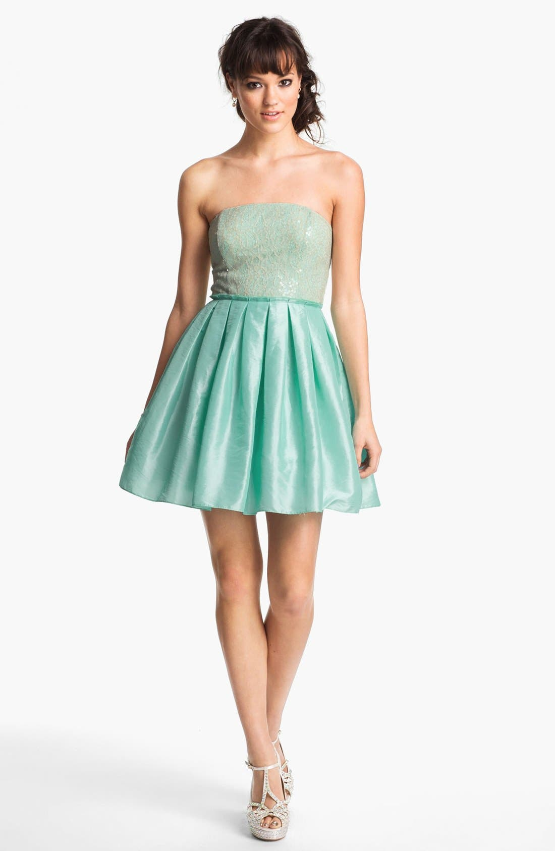 Alternate Image 1 Selected - Way-In Embellished Ballerina Dress (Juniors)