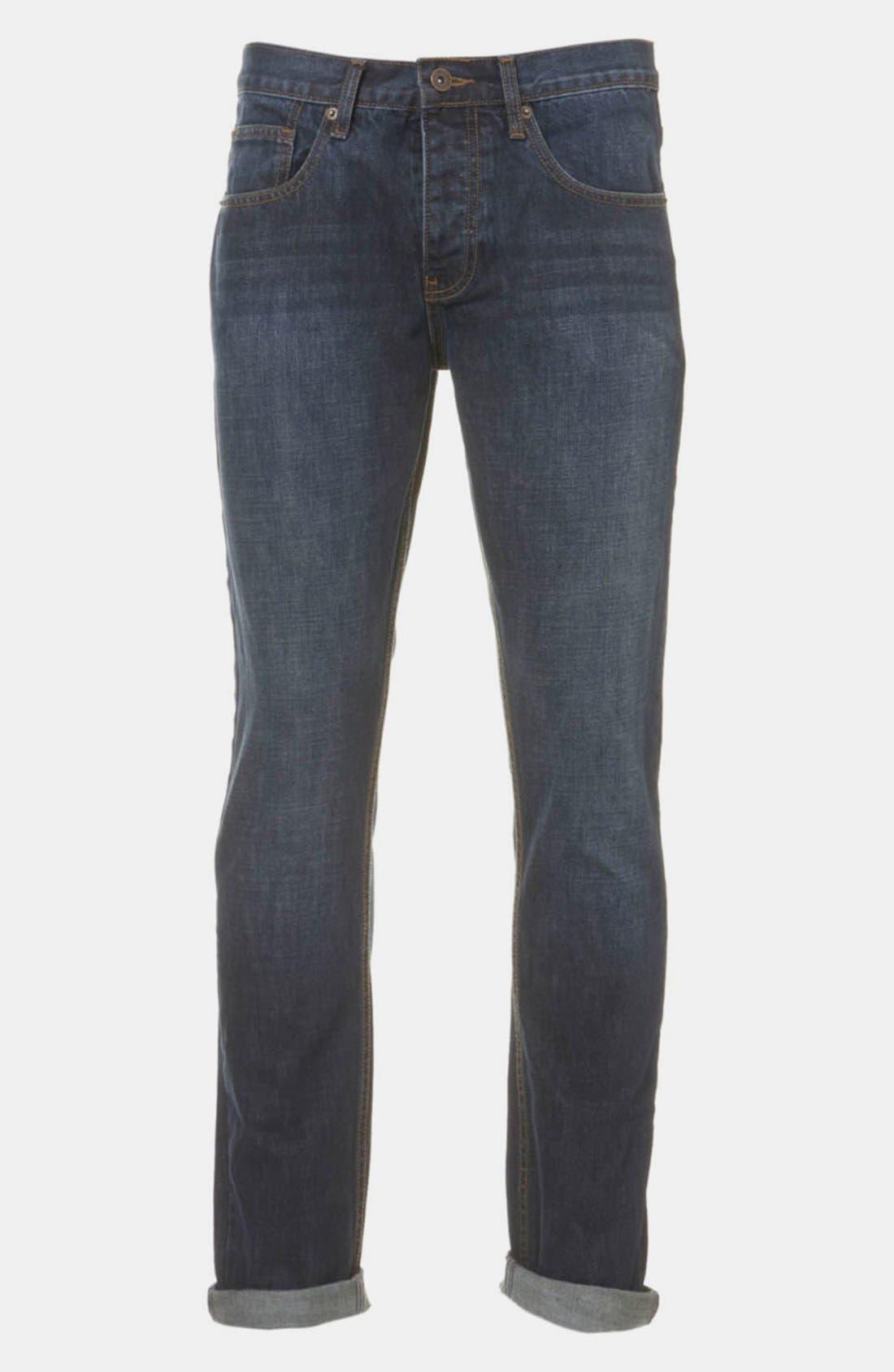 Alternate Image 1 Selected - Topman Slim Fit Jeans (Blue)