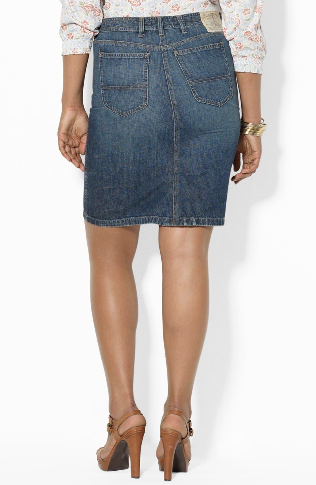 Alternate Image 2  - Lauren Ralph Lauren Straight Denim Skirt (Plus Size)