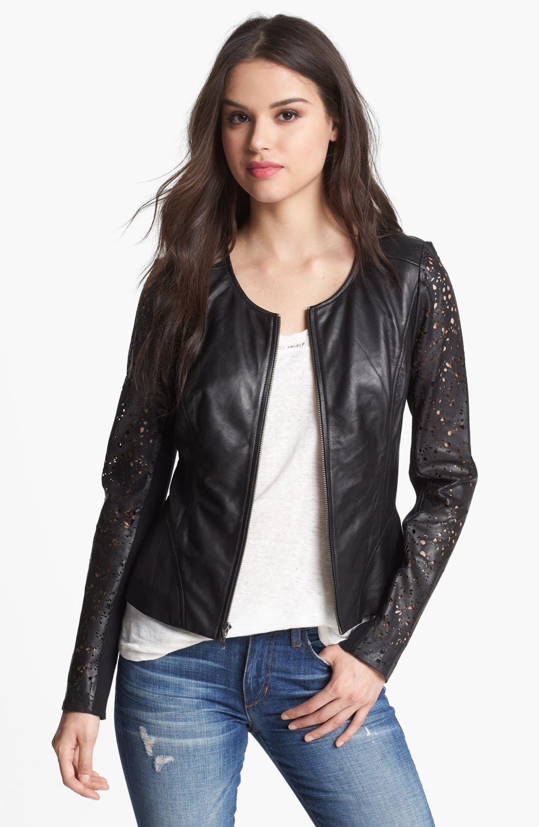 Main Image - Hinge® Laser Cut Leather Jacket