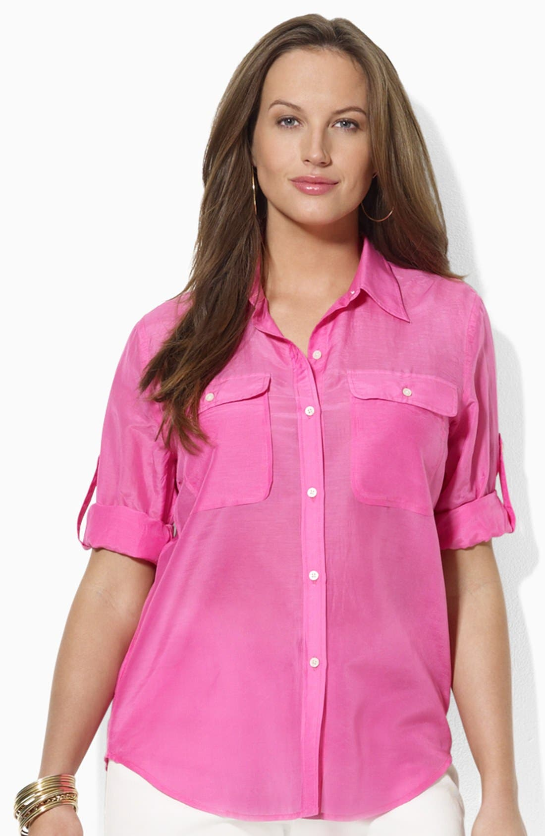 Alternate Image 1 Selected - Lauren Ralph Lauren Cotton & Silk Work Shirt (Plus)