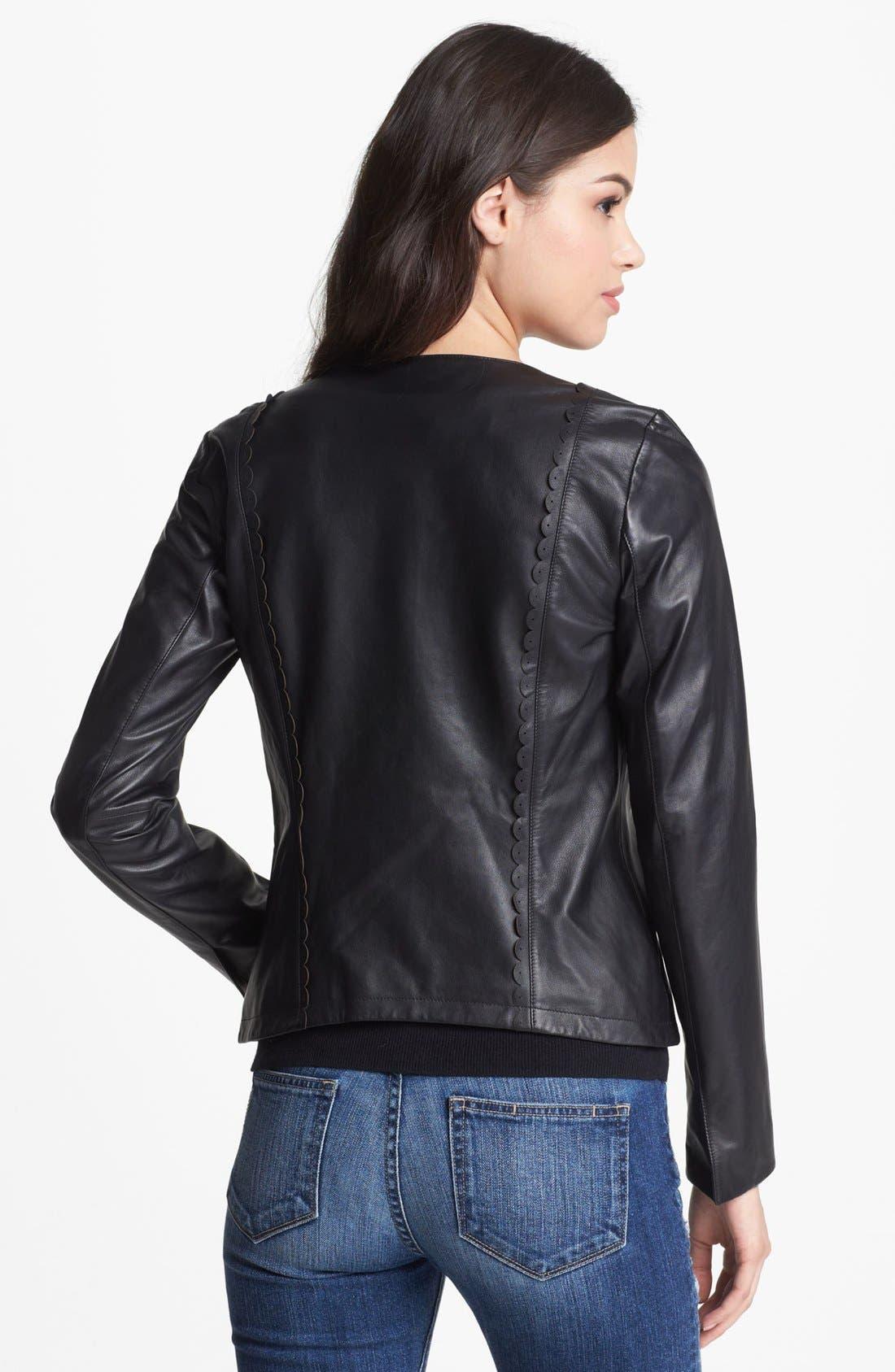 Alternate Image 2  - Hinge® Scallop Trim Leather Jacket (Online Only)