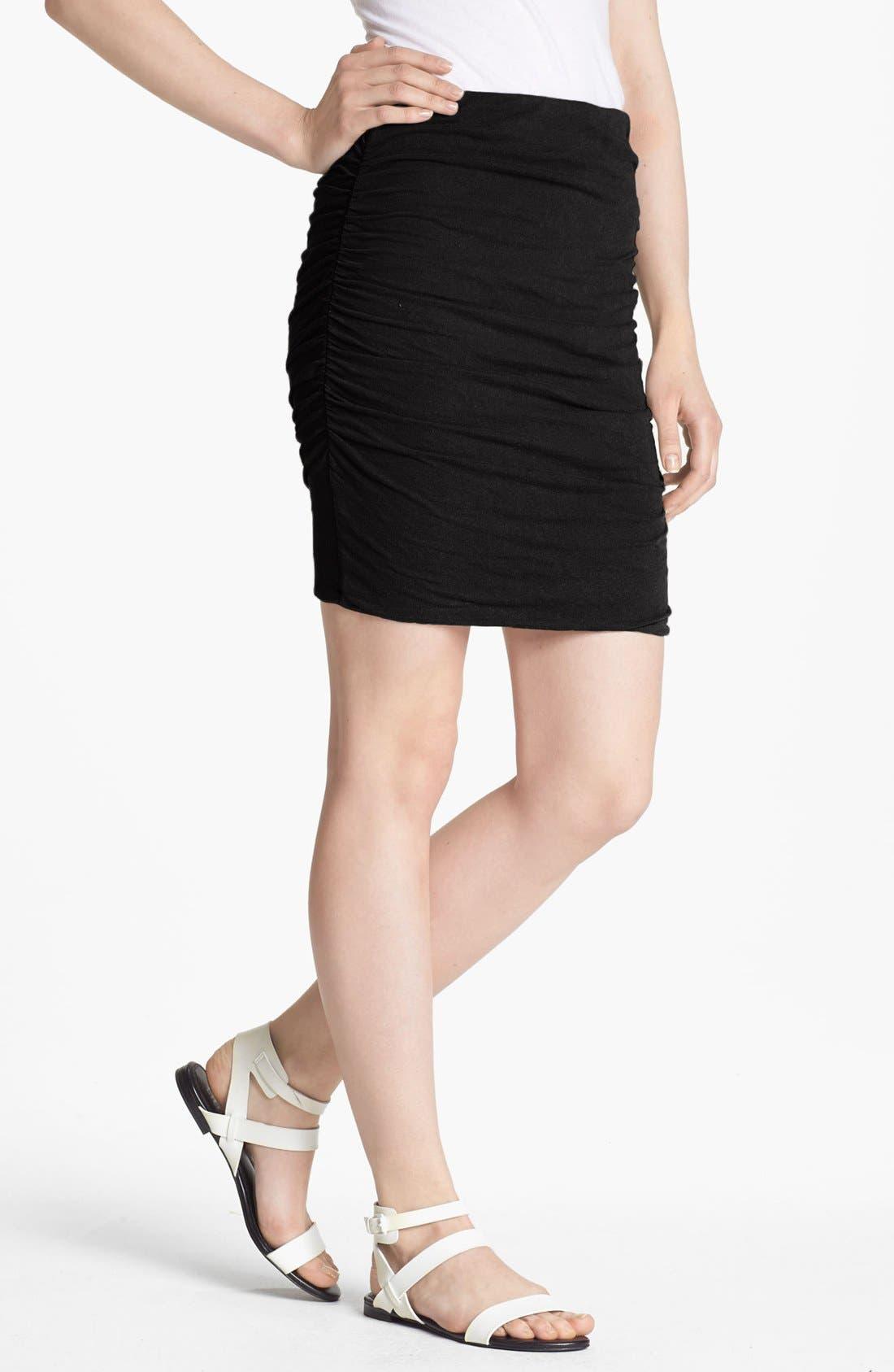 Main Image - James Perse Ruched Linen Blend Miniskirt