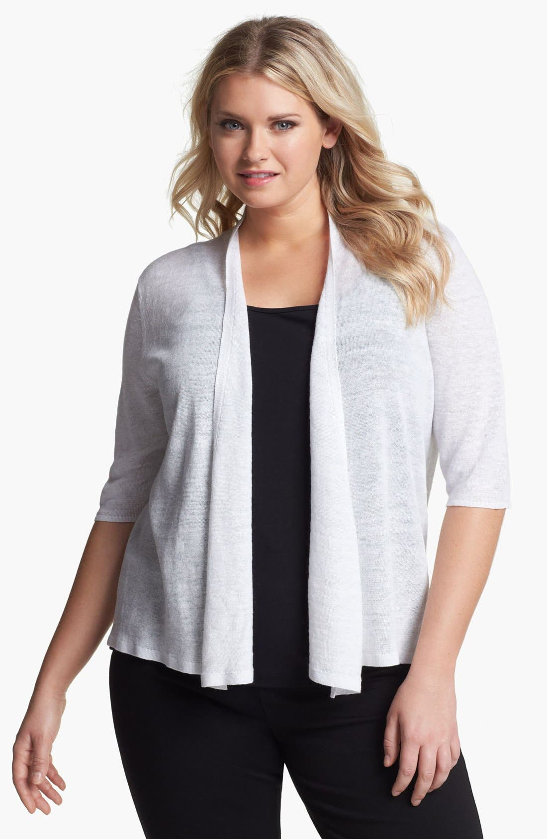 Main Image - Eileen Fisher Elbow Sleeve Linen Cardigan (Plus Size)