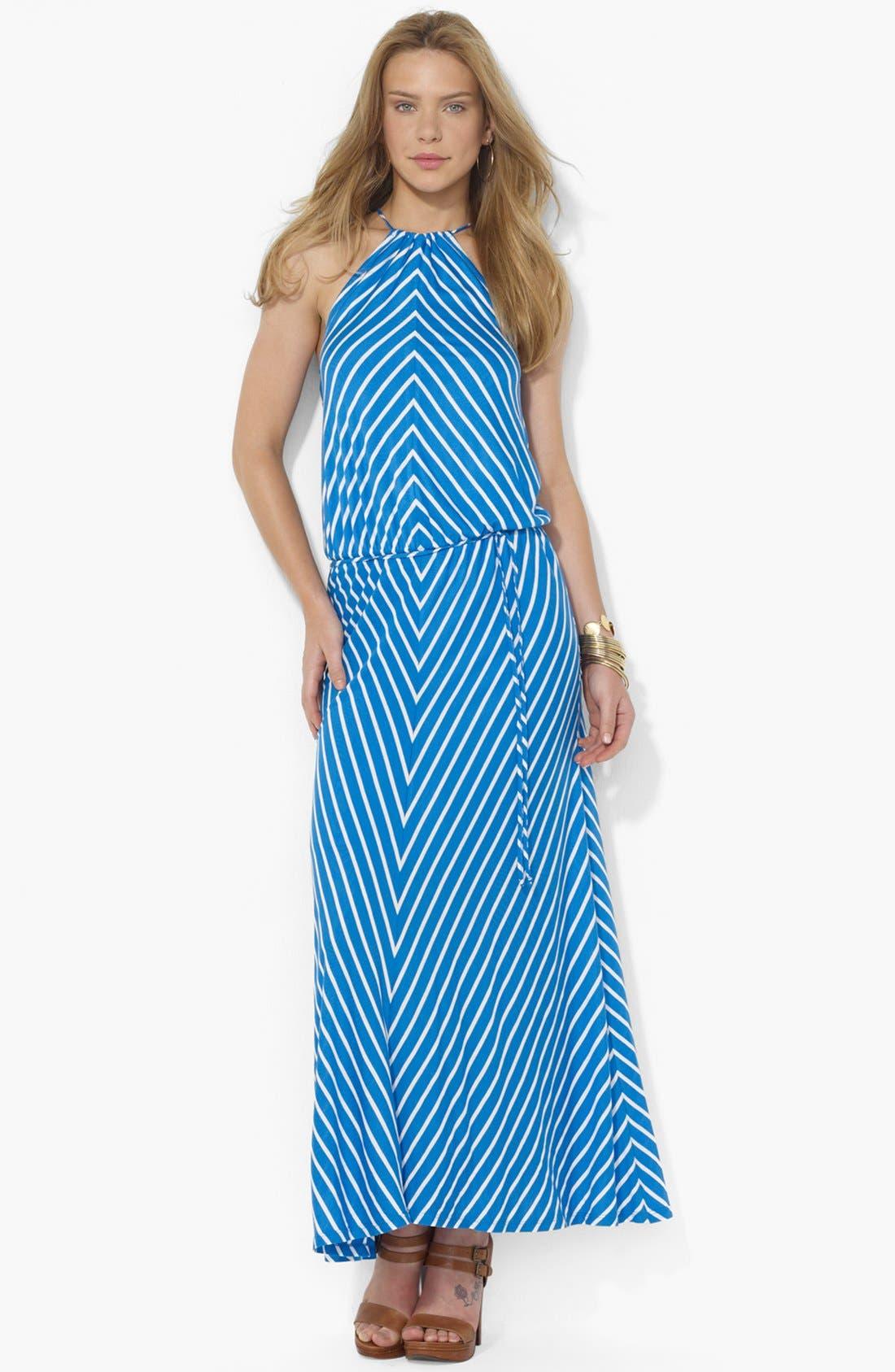 Main Image - Lauren Ralph Lauren Cutaway Halter Maxi Dress (Petite)
