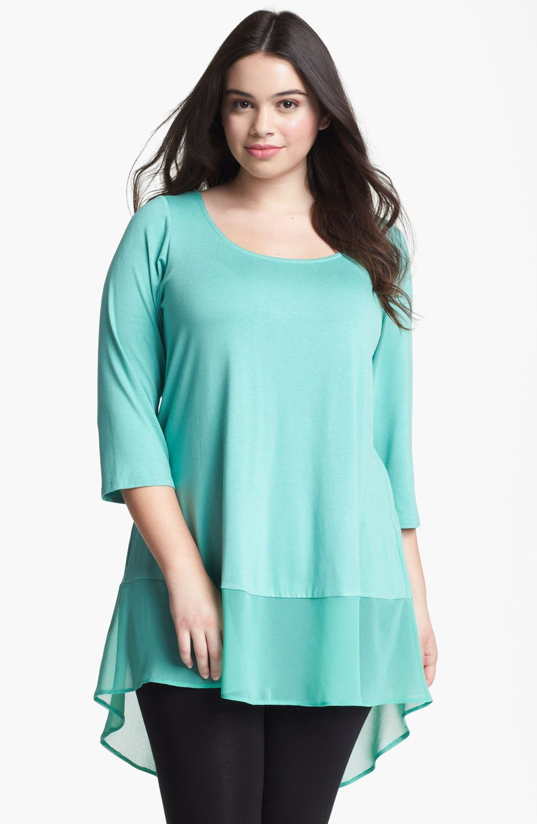 Alternate Image 1 Selected - Evans 'Lily' Chiffon Hem High/Low Top (Plus Size)