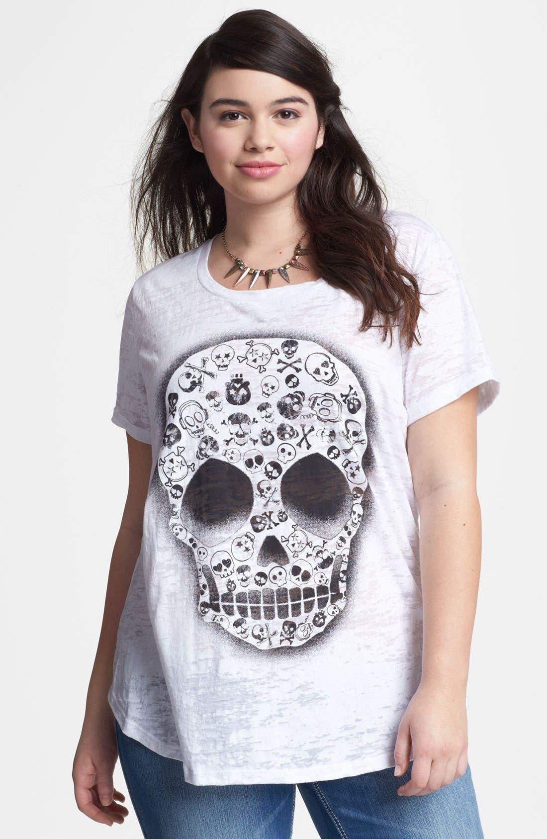 Main Image - Pretty Rebel Skull Graphic Tee (Juniors Plus)