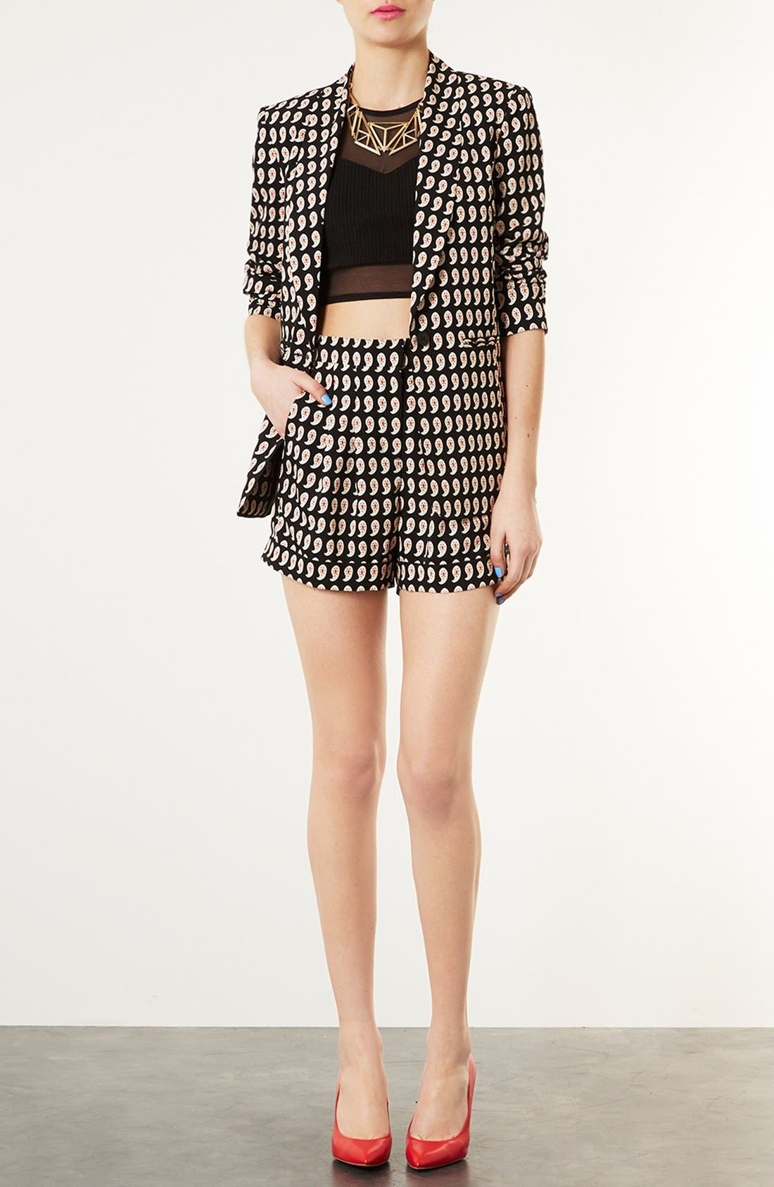 Alternate Image 4  - Topshop Paisley Print Pleated Shorts