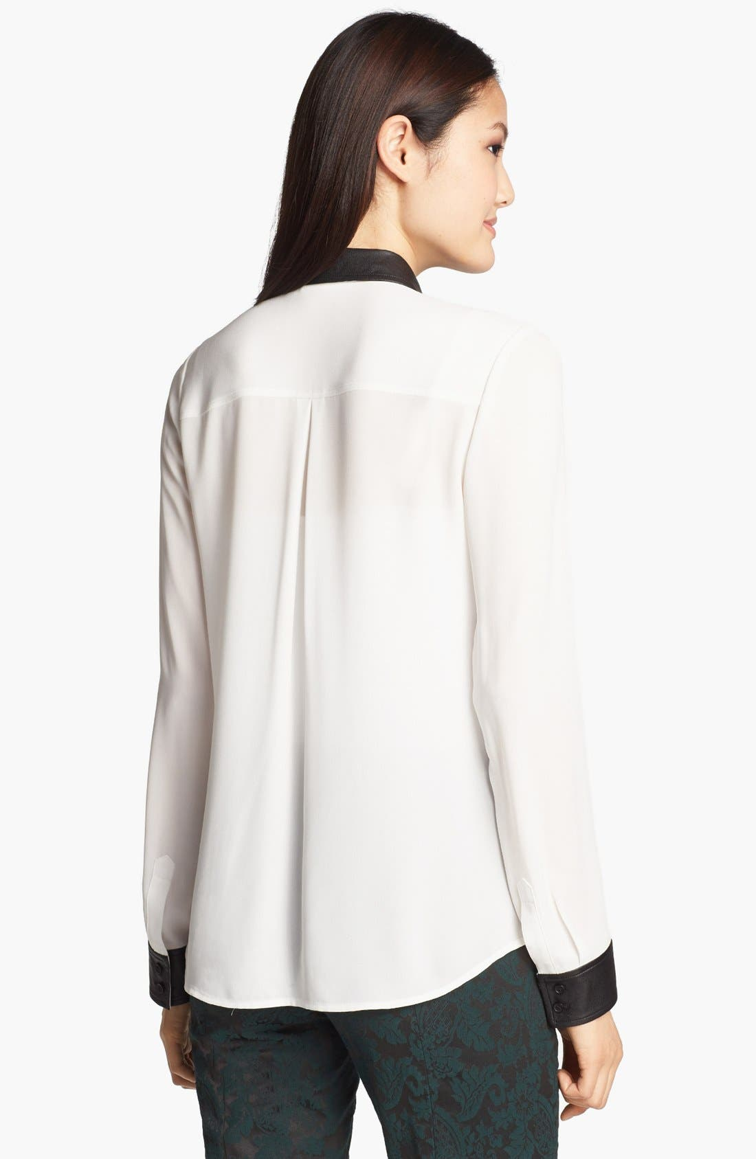 Alternate Image 2  - Halogen® Faux Leather Trim Blouse