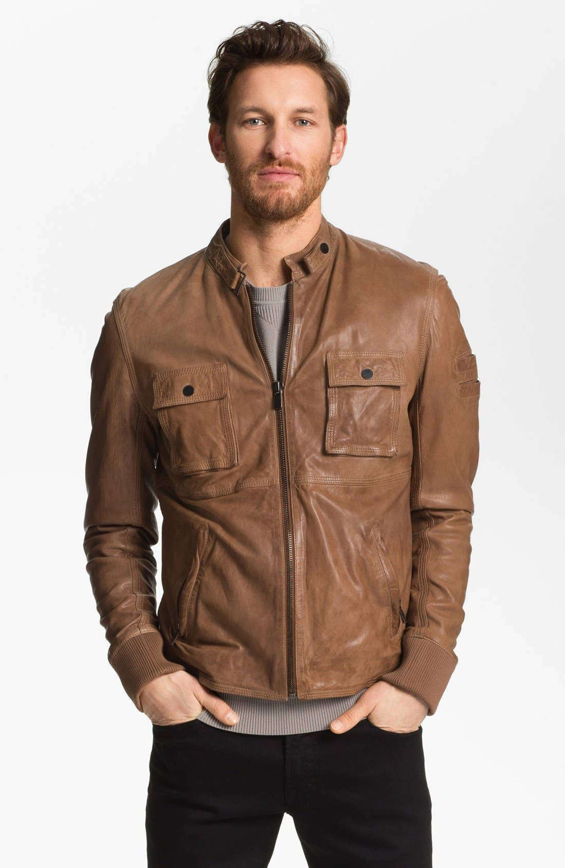 Main Image - La Marque Lambskin Leather Biker Jacket