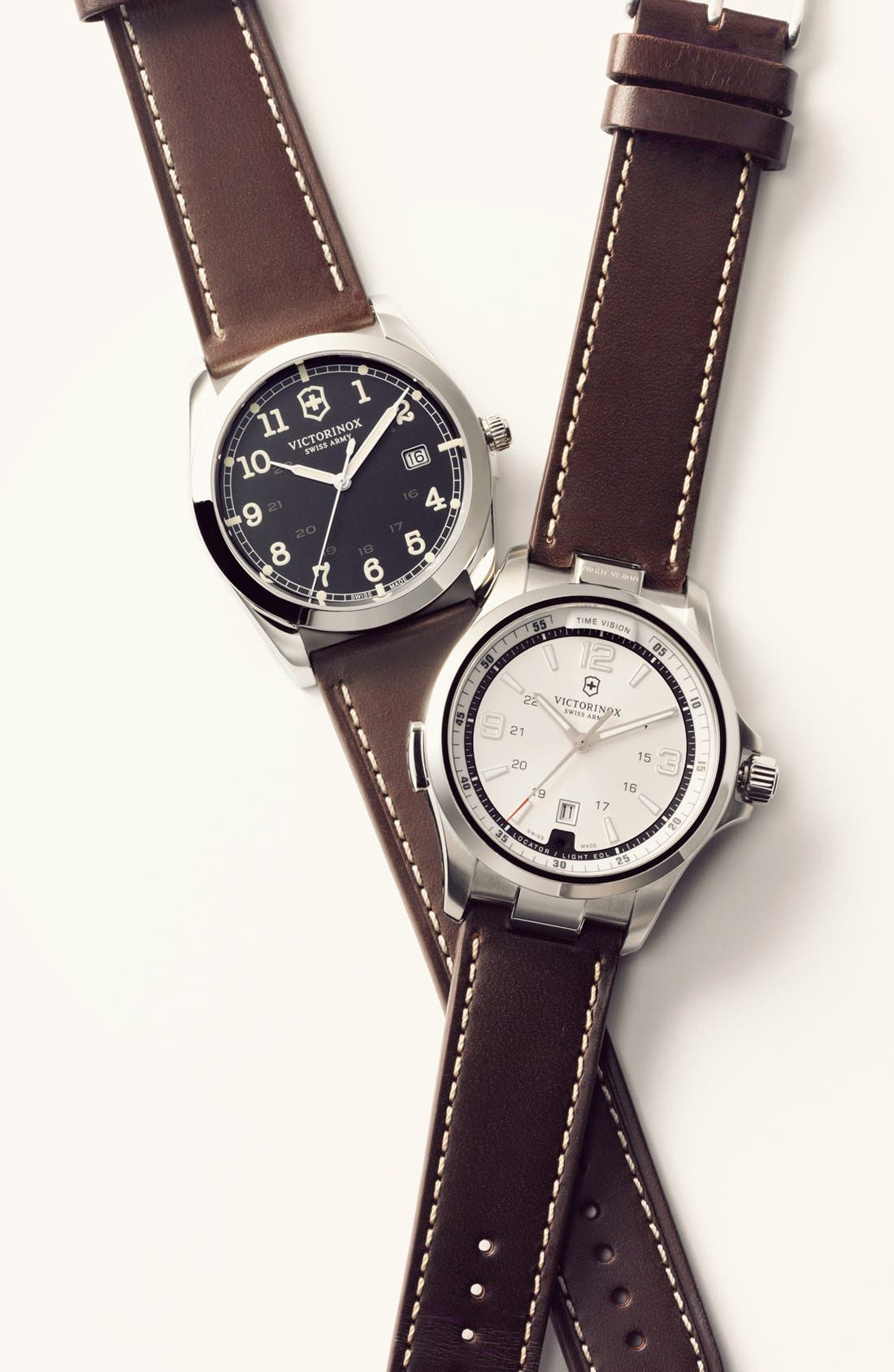 Alternate Image 5  - Victorinox Swiss Army® 'Night Vision' Leather Strap Watch, 42mm