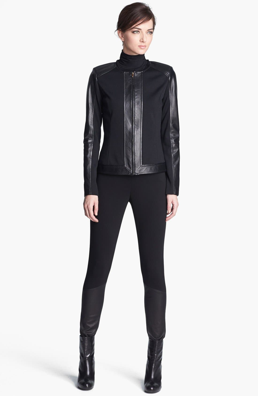 Alternate Image 2  - St. John Collection Leather Accent Ponte Knit Leggings