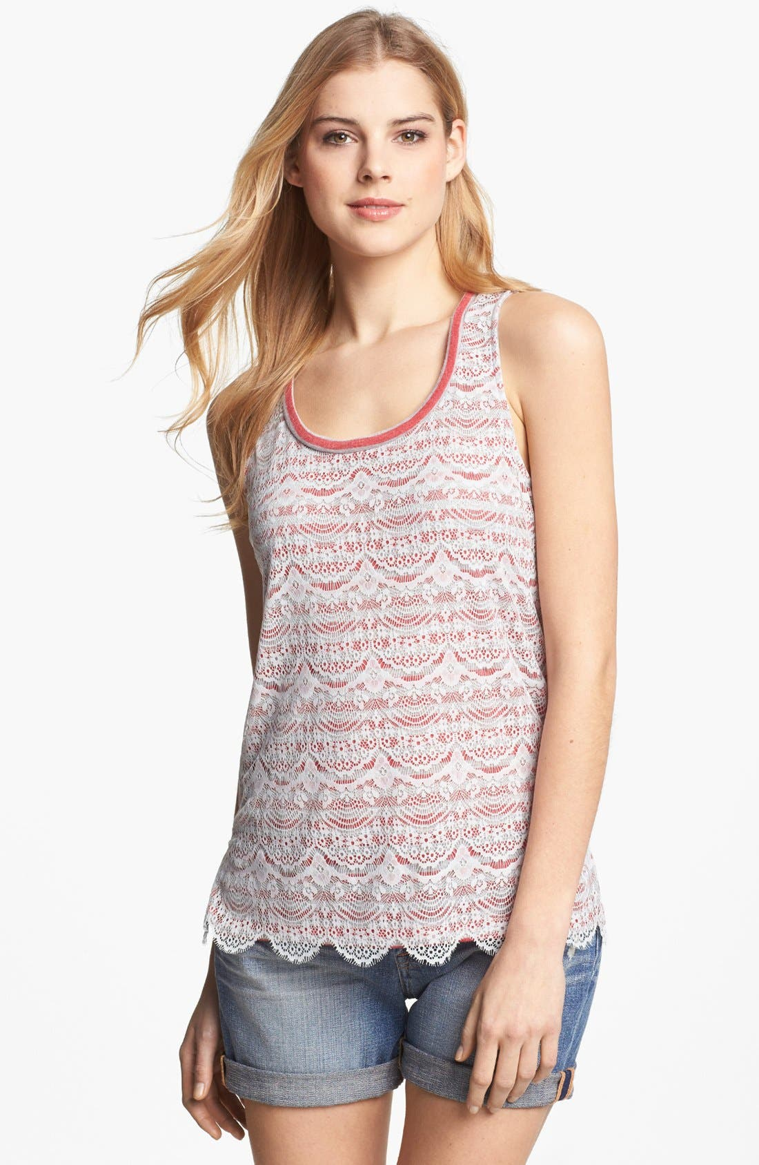 Alternate Image 1 Selected - Pleione Lace Overlay Stripe Tank