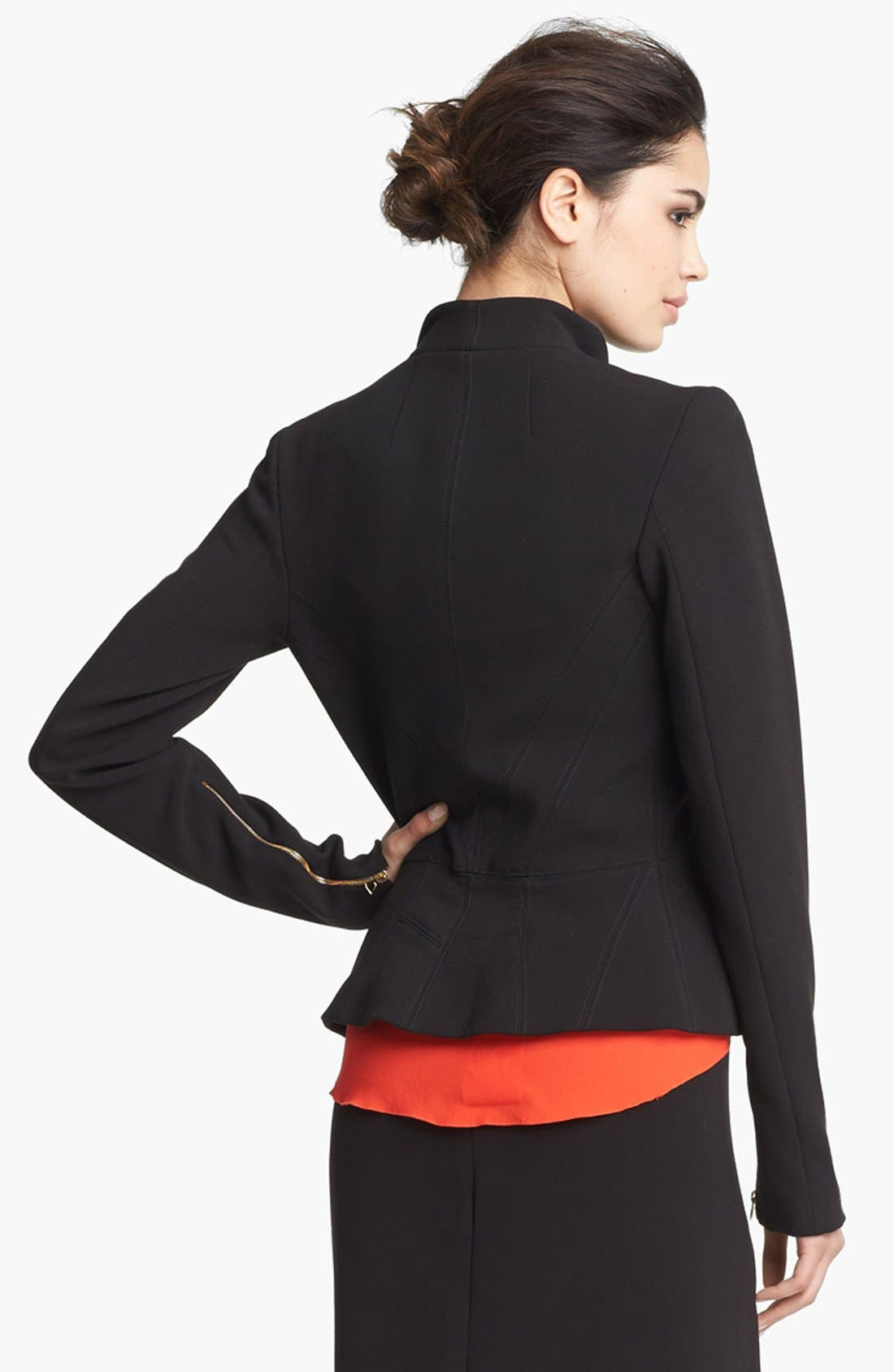 Alternate Image 3  - L'AGENCE Zip Sleeve Ponte Knit Jacket