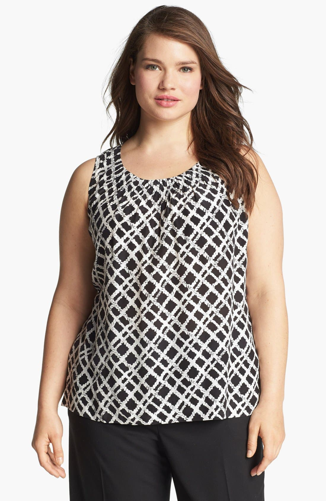 Main Image - Sejour Shirred Sleeveless Top (Plus Size)