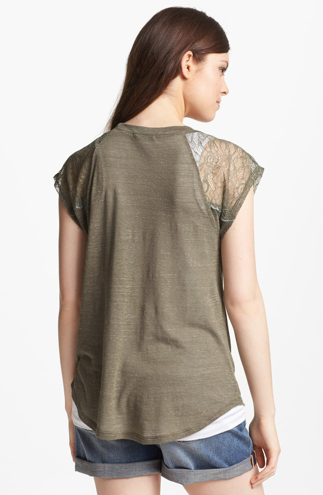 Alternate Image 2  - Pleione Lace Shoulder Inset Tee