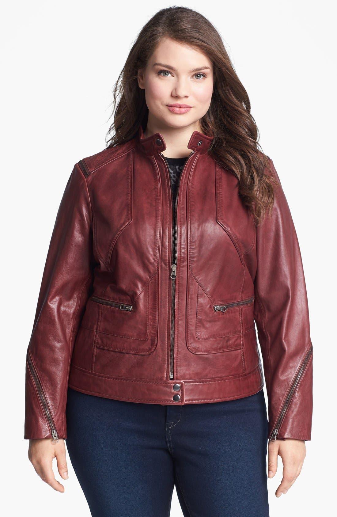 Alternate Image 1 Selected - Bernardo Zip Trim Leather Scuba Jacket (Plus Size)