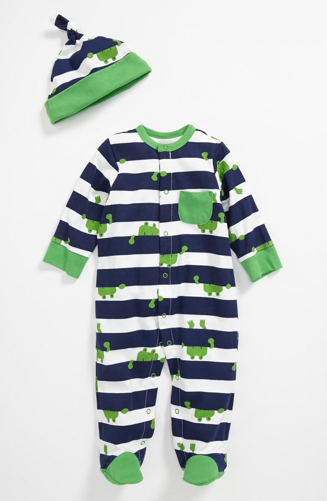 Main Image - Offspring 'Frog' Footie & Hat (Baby)