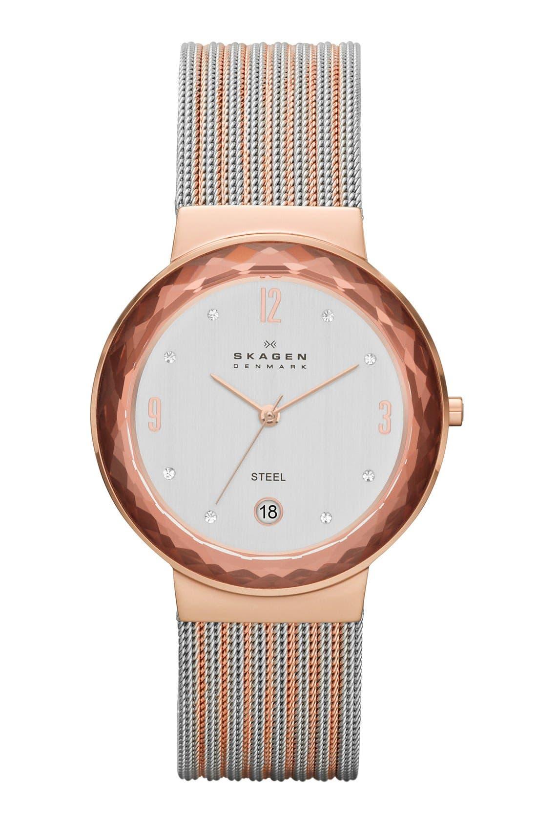 Main Image - Skagen Faceted Bezel Stripe Mesh Strap Watch, 34mm