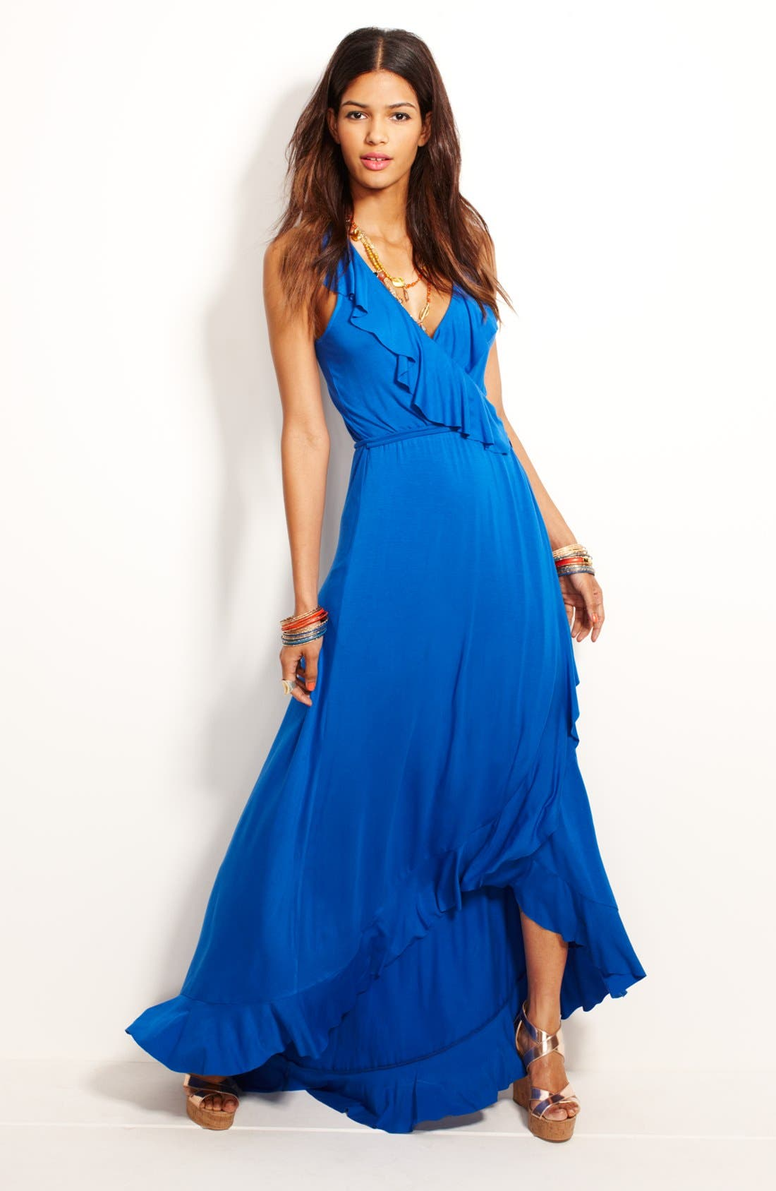 Alternate Image 4  - Felicity & Coco Ruffled Faux Wrap Maxi Dress (Nordstrom Exclusive)
