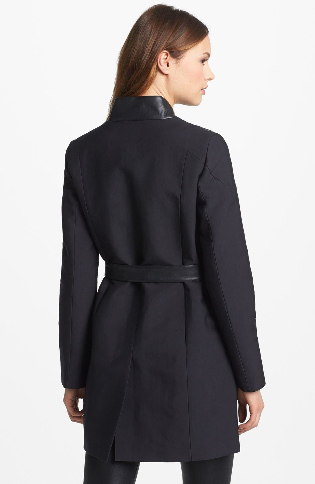 Alternate Image 2  - French Connection Faux Leather Trim Trench Coat (Online Only)