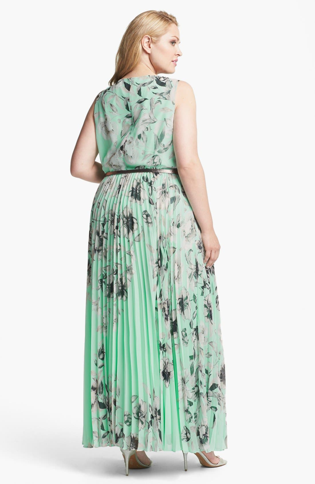 Alternate Image 2  - Eliza J Floral Sleeveless Print Chiffon Maxi Dress (Plus Size)