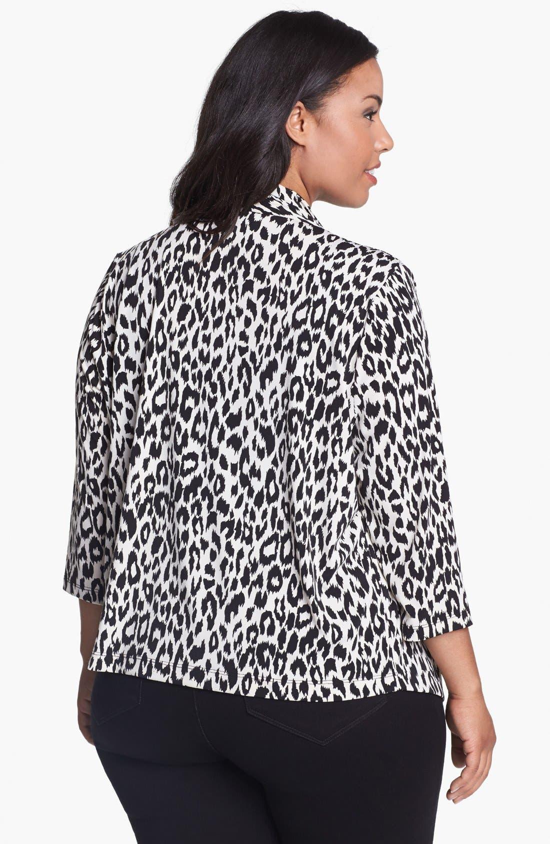 Alternate Image 2  - Karen Kane Leopard Print Drape Jacket (Plus Size)