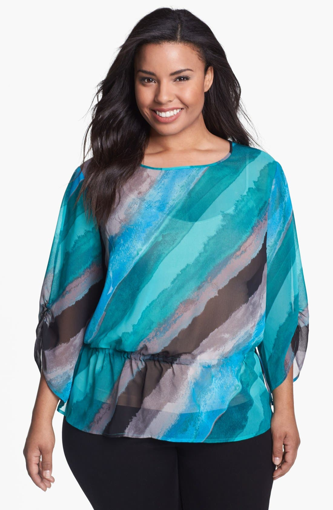 Alternate Image 1 Selected - Sejour Print Chiffon Top (Plus Size)