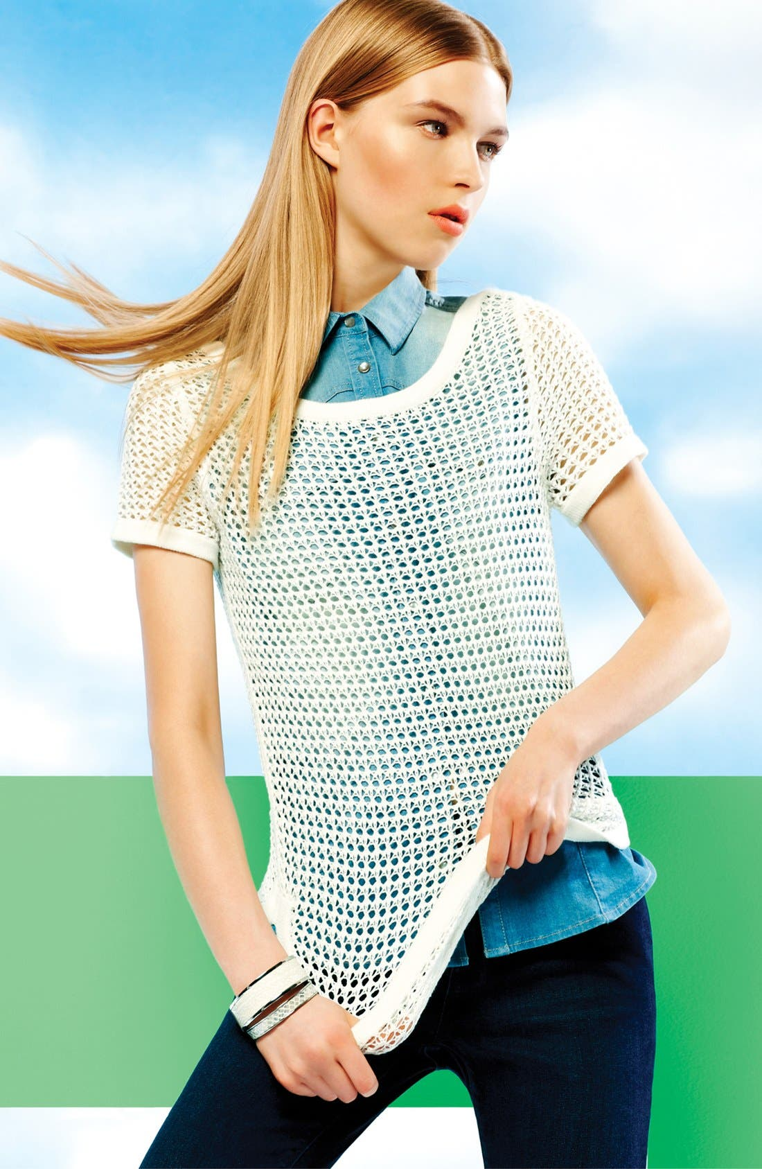 Alternate Image 7  - Two by Vince Camuto Sleeveless Chambray Shirt