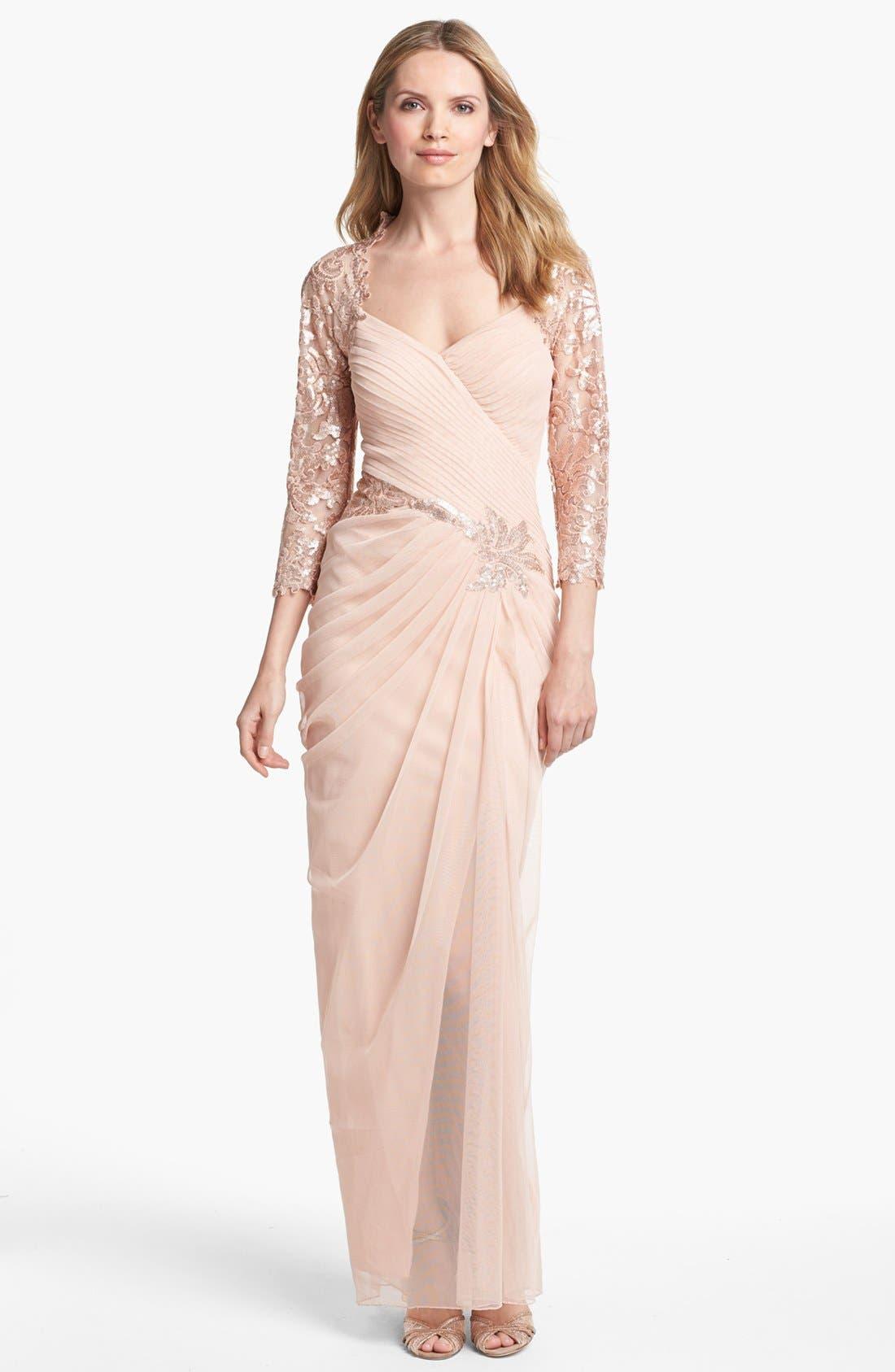 Main Image - Tadashi Shoji Embellished Lace Sleeve Dress