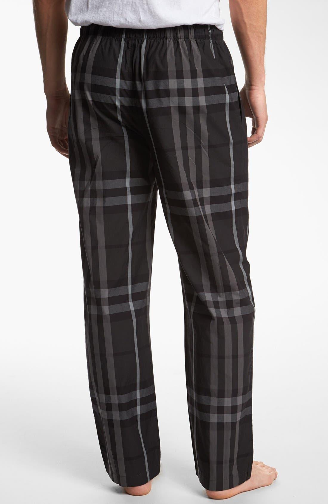 Alternate Image 2  - Burberry Check Cotton Pajama Pants